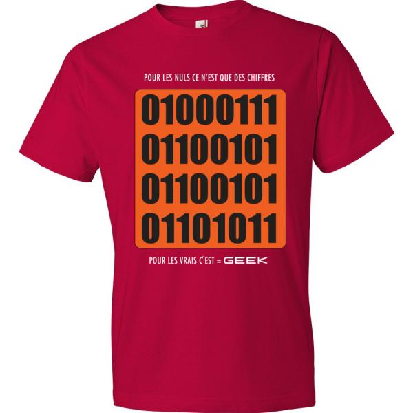 T-Shirt 01000111 - Nuls vs Gamer (rouge)