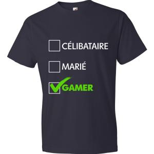 T-Shirt - Célibataire, Marié, Gamer (bleu marin)