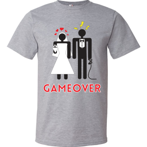 T-Shirt - Couple marié - Game Over (Gris)