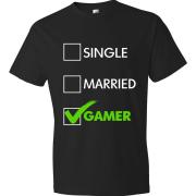 T-Shirt - Single, Married, GAMER (black)