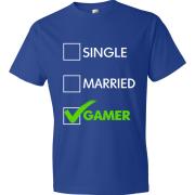 T-Shirt - Single, Married, GAMER (blue)