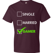 T-Shirt - Single, Married, GAMER (marron)