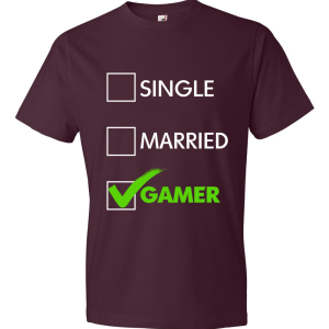 T-Shirt - Single, Married, GAMER (marron)