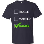 T-Shirt - Single, Married, GAMER (navy)