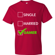 T-Shirt - Single, Married, GAMER (red)