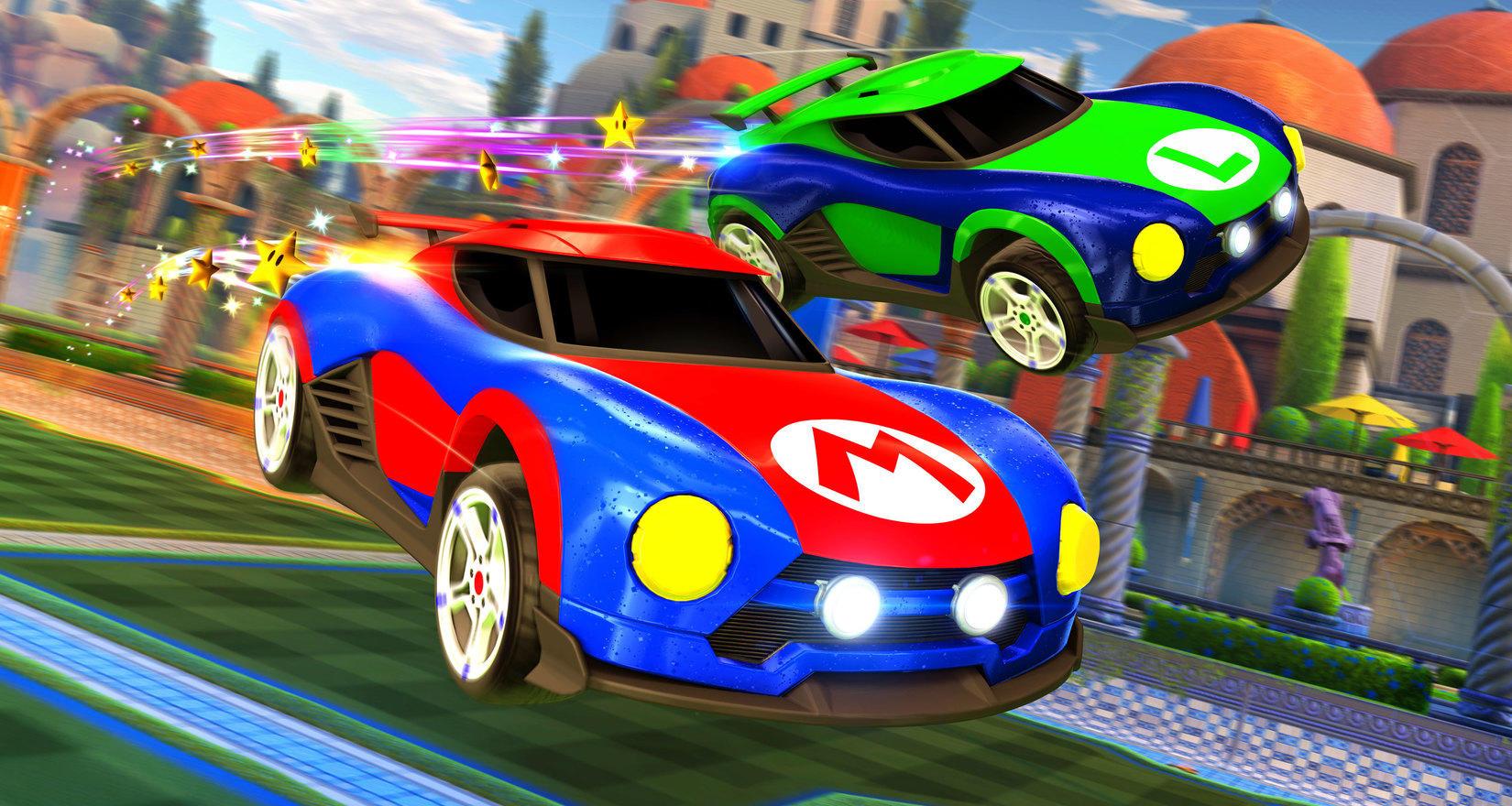 Des voitures Mario et Metroid dans Rocket League sur Nintendo Switch