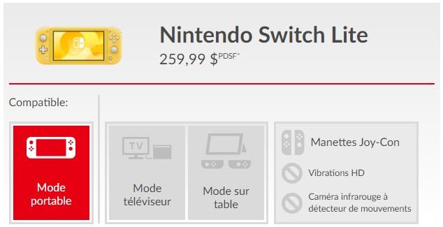 Compatibilité Switch Lite